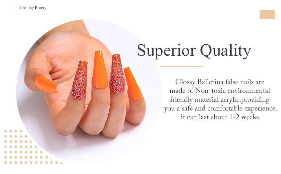 orang fake nails