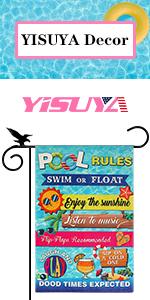 YISUYA pool rules summer garden flag