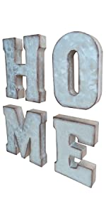 galvanized HOME 3D letter block home metal letter signs metal decorative letters tin word signs