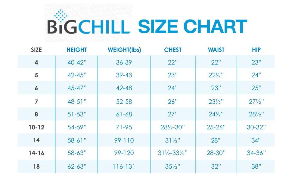 Big Chill Size Chart