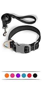 Dog collar for medium small large dogs reflective with leash ,Soft Neoprene Padded 2 Pack