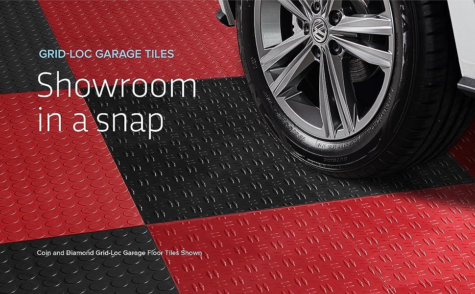 Grid-Loc Garage Tiles Showroom in a snap Coin-top Diamond-top Flooring