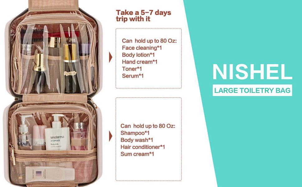 NISHEL large travel toiletry bag