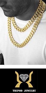 TRIPOD JEWELRY Iced Out Cuabn Link Chain