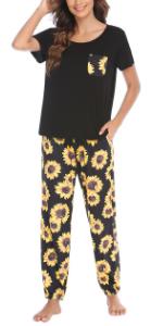 Women Pajama Set Short Sleeve and Long Pants