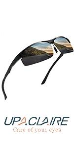 UpaClaire High Definition Polarized Sports Sunglasses for Men UV Protection Metal Frame Unbreakable
