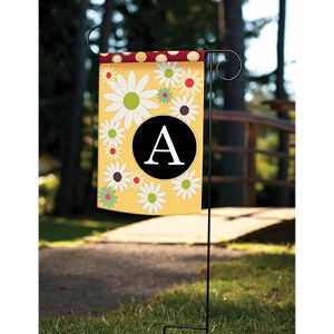 Garden flag with floral monogram design with letter A