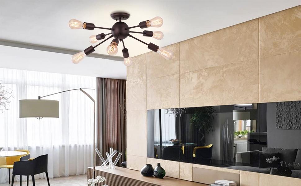 8 light sputnik ceiling light fixture