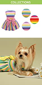 rainbow dog dress cotton for small dogs dog clothes