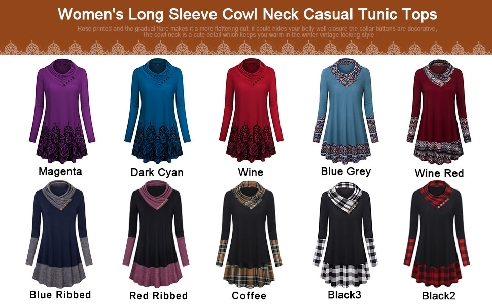 women cowl neck long sleeve flowy winter thin tunic tops shirts blouses sweatshirts