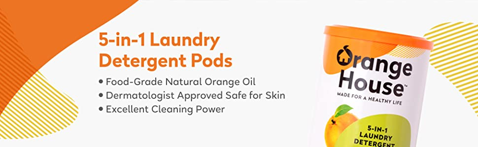 laundry pods detergent pods orange cleaning natural free and clear