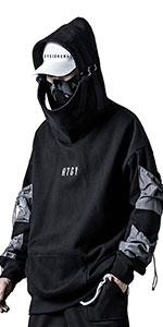 Hoodie Cyberpunk Tactical Mens Black Urban Hip Hop Japanese Sweatshirt