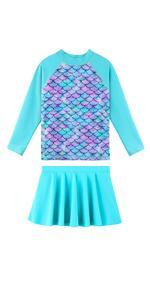 Girls Long Sleeve Swim Dress Cyan Scale