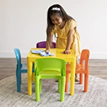 easy to clean kids plastic table and chairs set children furniture playroom organization