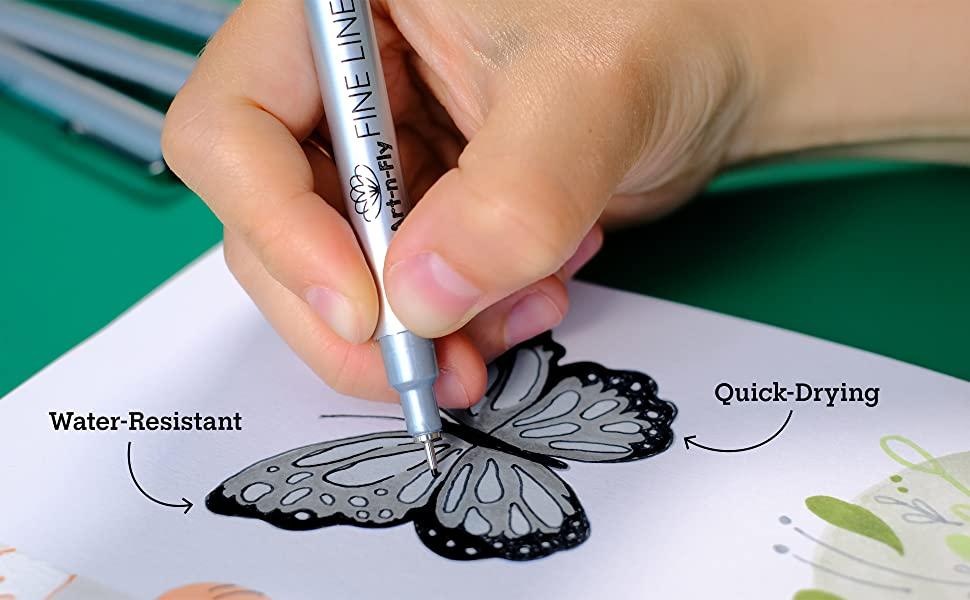 art n fly, black fine line pens, japanese archival ink,
