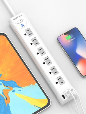 power strip surge protector with 3 usb ports, 2.4 amp output in total, charge phones and tablets
