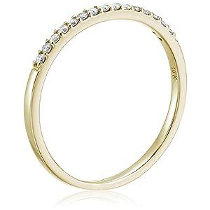 Vir Jewel 1/8 cttw Petite Diamond Wedding Band in 10K Yellow Gold Prong Set Round