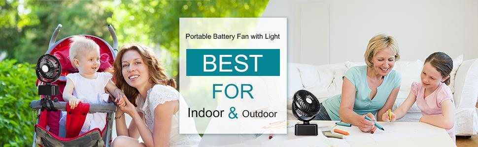 battery operated fan for indoor and outdoor