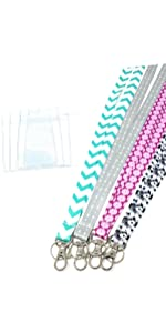 4-Pack ECOHIP Jewelry Cute Lanyard with ID Badge Holder, Necklace lanyards Women office lady teacher