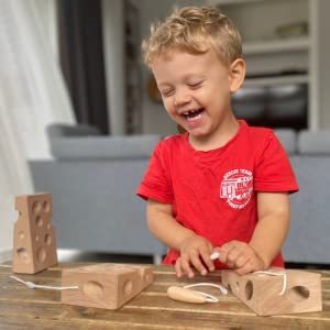 safe childsafe connector safety tested ASTM natural kid toddler boy wooden cheese lacing threading