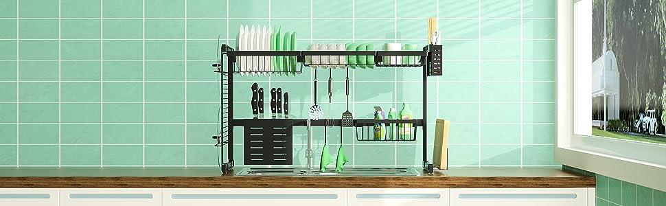 Kitchen Drainer Rust Free dish rack over sink Dish Dryer Large Storage escurridor de platos