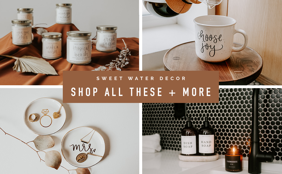 sweet water decor soy candles home decor jewelry dishes dispensers coffee mugs tray modern farmhouse