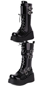 Women Black Zipper Platform Boots Strap Buckle Mid-Calf Boots