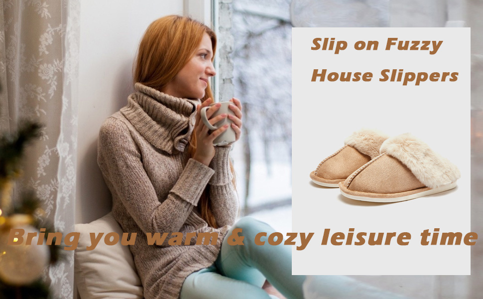 Slip on Fuzzy House Slippers for Women Men with Memory Foam Bedroom Home Shoes