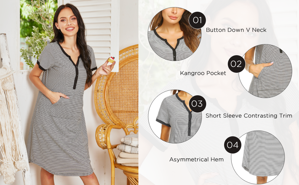 The details of the button down nightgown