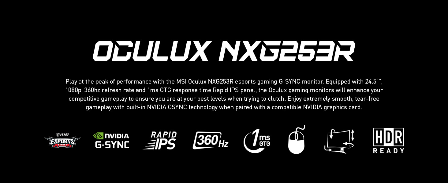OCULUX NXG253R Gaming monitor esports Rapid IPS 360Hz 1ms response time HDR Ready adjustable