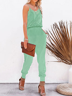 Women's Casual Solid Lace Tank Blue Green Jumpsuits