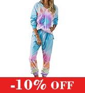 KIRUNDO Women's Tie Dye Pajamas Set Long Sleeves Jogger PJ Sets Two Pieces Round Neck Loungewear ...