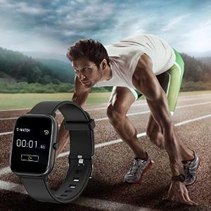 fitness watch with 1.4 inch sleep tracker and alarm clock stopwatch