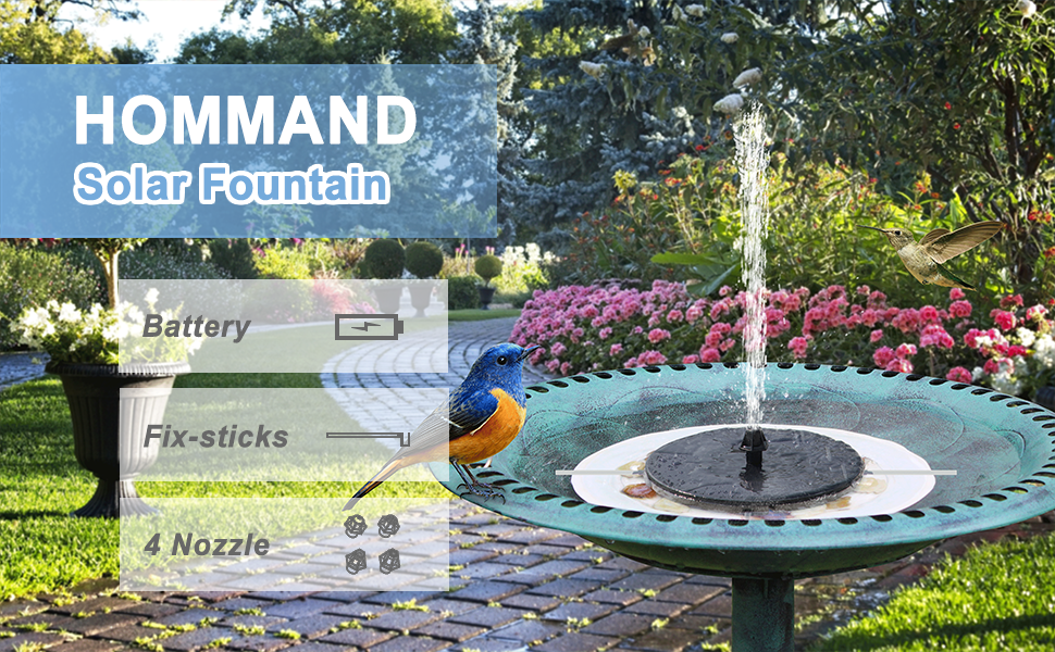 Make your garden be more vivid and interesting with HOMMAND Solar Fountain!