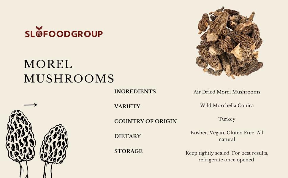 kosher, vegan, gluten free, all natural. Keep morel mushrooms tightly sealed and refrigerate