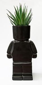 Block Person Head Planter Black