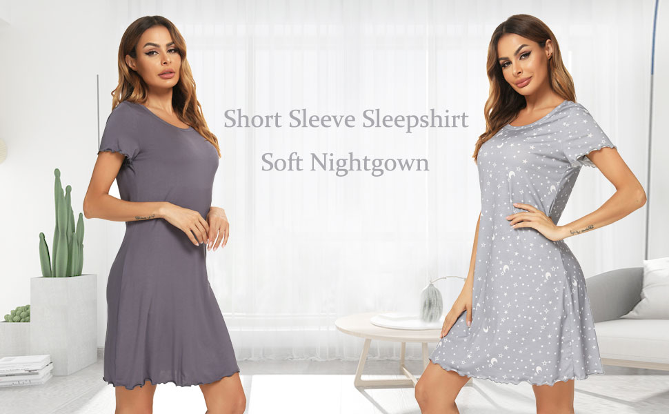 Short Sleeve Cotton Nightshirt