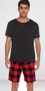 Mens Plaid Shorts Pajamas Set