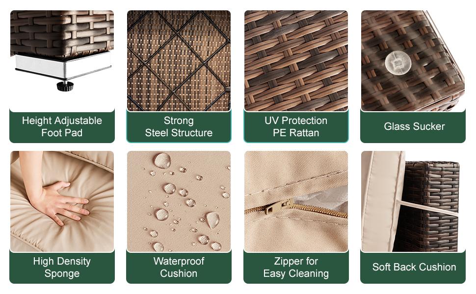 Aoxun High Quality Wicker Patio Furniture-7 Piece Modular Outdoor Sectional Sofa