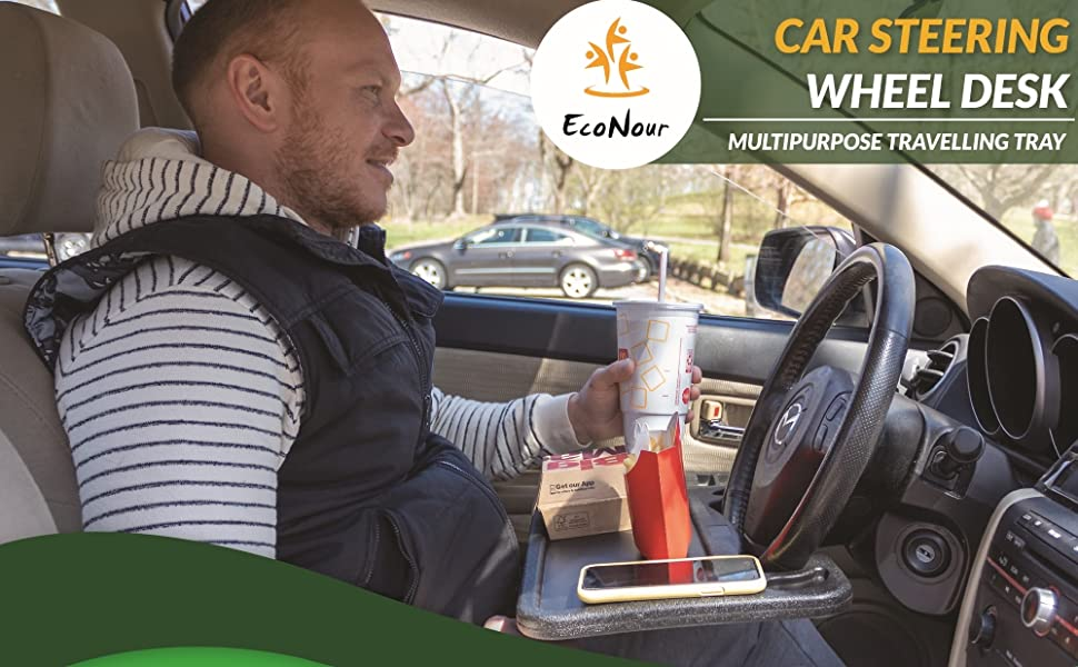 EcoNour Steering wheel desk tray food table wheelmate Multipurpose Traveling Tray