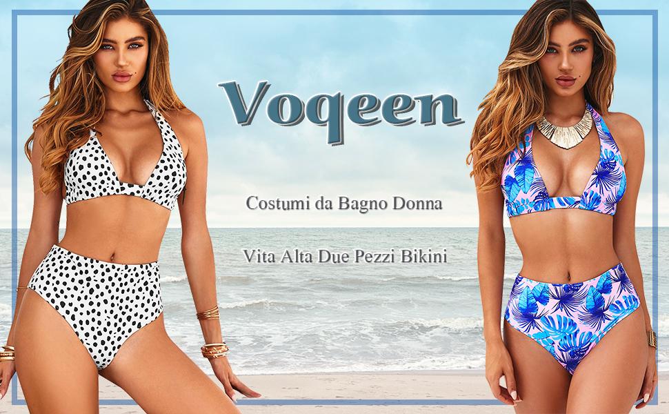 Costumi da Bagno Donna Vita Alta in Due Pezzi Bikini Swimsuit Stampa Floreale Abiti da Spiaggi