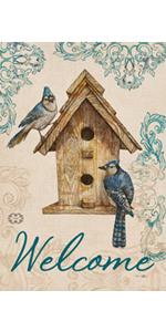 Hzppyz Welcome Blue Bird House Garden Flag