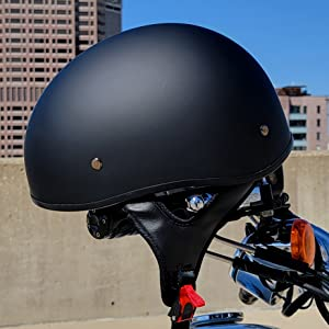 Classic Sniper motorcycle half helmet in matte black for motorbikes, scooters, cruisers and more.