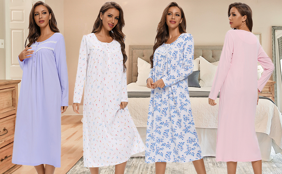 100% cotton nightgowns long lenght
