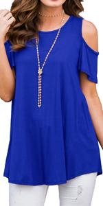 PrinStory Womenamp;amp;#39;s Short Sleeve Casual Cold Shoulder Tunic Tops Loose Blouse Shirts