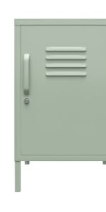 Metal locker end table with one door and one handle in pale green