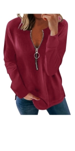 Zip Up V Neck Pullover Sweatshirts