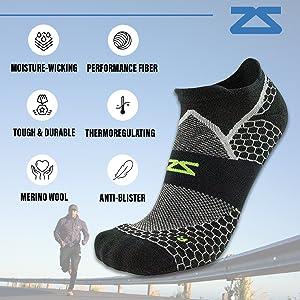 performance athletic running socks no show