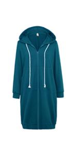 Women Long Sleeve Hoodies Zip Up Autumn Winter Long Outerwear with Pockets