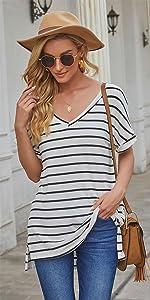 Women's Short Sleeve V Neck Oversized Tee T Shirt Striped Print Side Split Tunic Tops